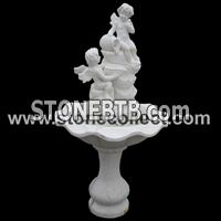 excellent white marble carved fountain