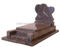 Double heart styled red granite tombstones