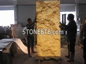 Translucent Orange Onyx Glass Wall (J10)