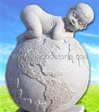 Stone sculpture Earth & Child white stone sculpture
