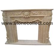 Beige Marble Fireplace Mantel
