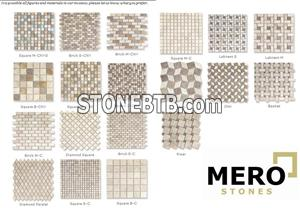 Mosaics of travertine mix tumbled