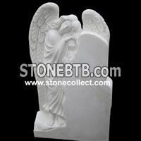 Pure white Heastone with carved Angel