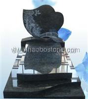 Line carving black granite european tombstone